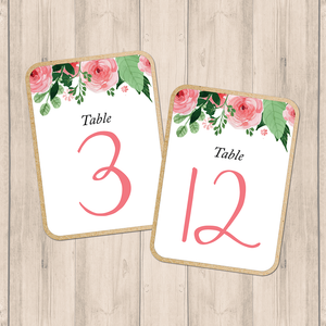 Blush Floral Wedding Table Numbers