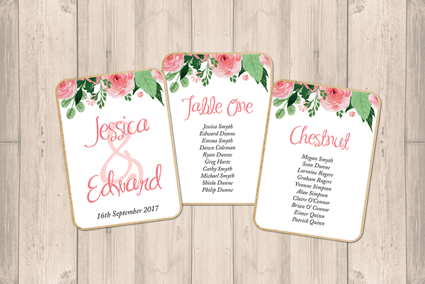 Blush Pink Floral Wedding Individual Table Plans