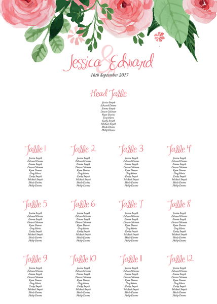 Blush Pink Floral Wedding Large Table Plan