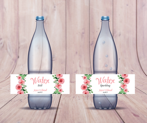 Blush Pink Floral Wedding Water Bottle labels