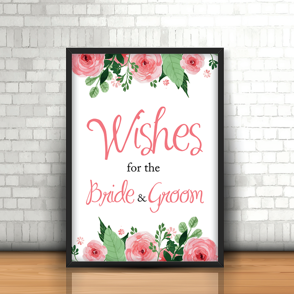 Blush Pink Floral 'Best Wishes' Wedding Sign