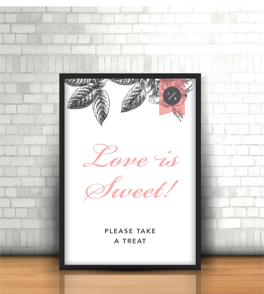 Pink-Grey Modern Floral 'Love is Sweet' Wedding Sign