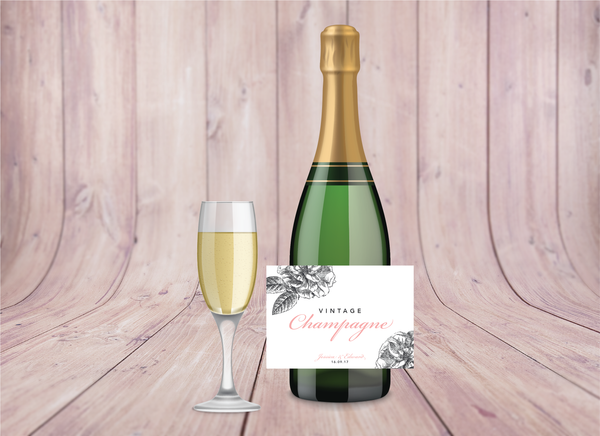 Pink-Grey Modern Floral Wedding Champagne Labels - Oregano Designs