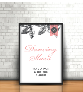 Pink-Grey Modern Floral 'Dancing Shoes' Wedding Sign - Oregano Designs
