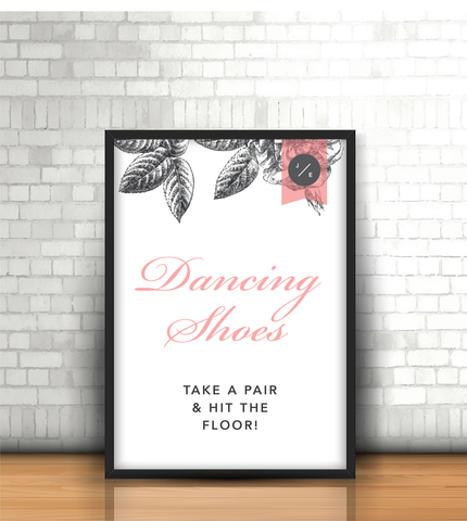 Pink-Grey Modern Floral 'Dancing Shoes' Wedding Sign