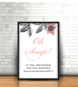 Pink-Grey Modern Floral 'Oh Snap!' Instagram Wedding Sign