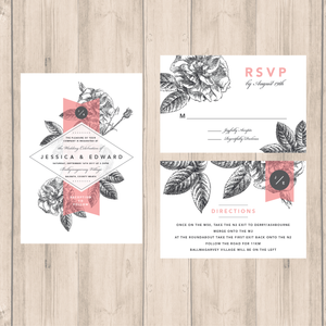 Pink-Grey Modern Floral Wedding Invitation Suite