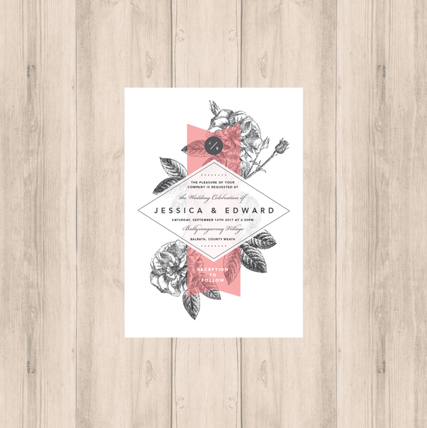 Pink-Grey Modern Floral Main Invitation