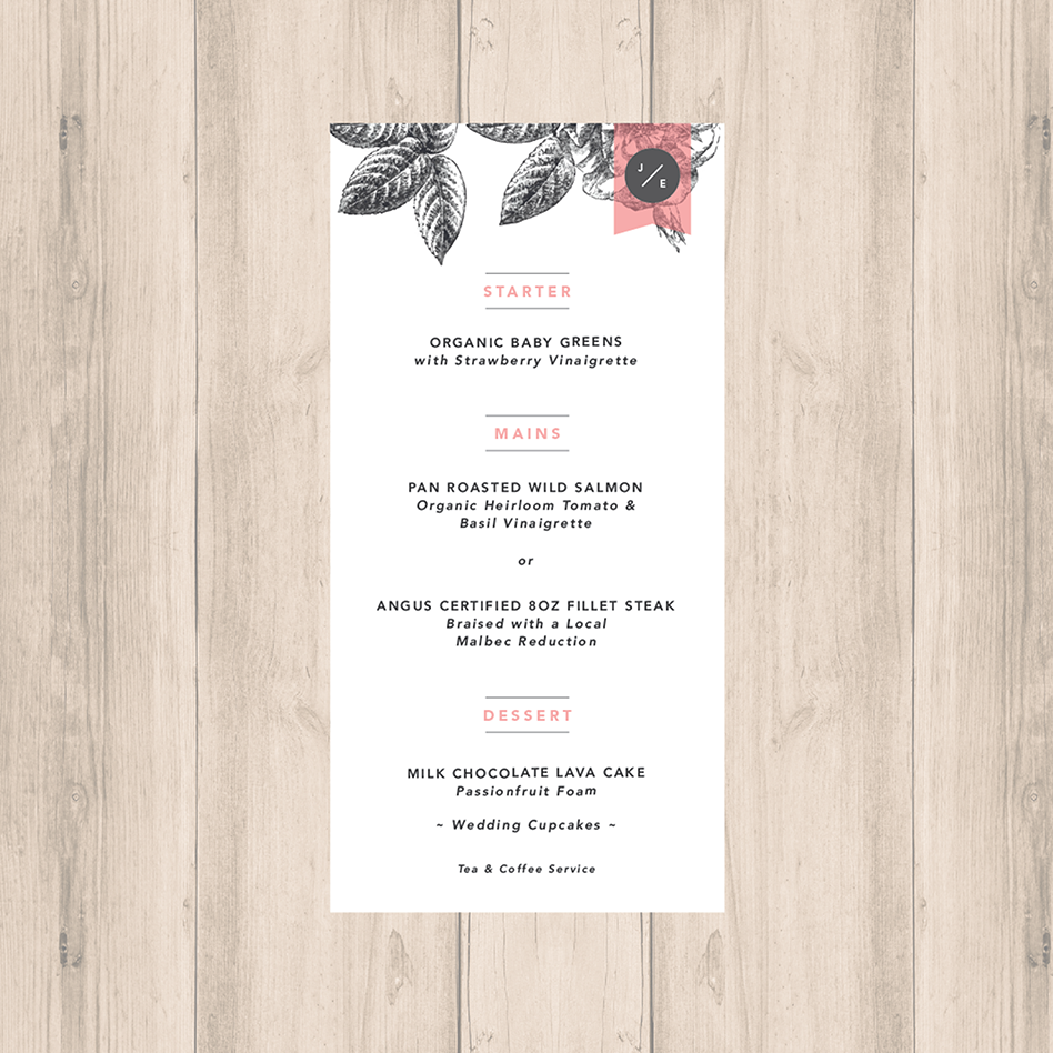 Pink-Grey Modern Floral Wedding Menu