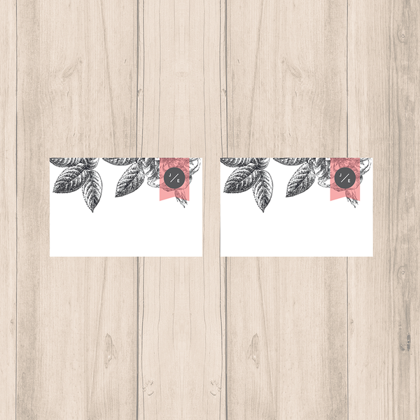 Pink-Grey Modern Floral Wedding Blank Place Cards - Oregano Designs