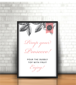Pink-Grey Modern Floral 'Prosecco bar' Wedding Sign