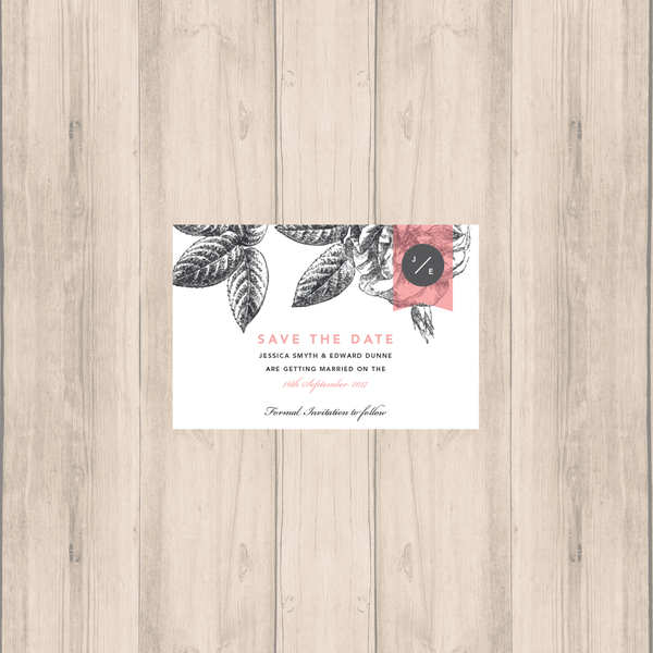 Pink-Grey Modern Floral Save the Date - Oregano Designs