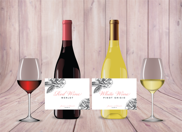 pink-grey modern floral burgundy wine labels
