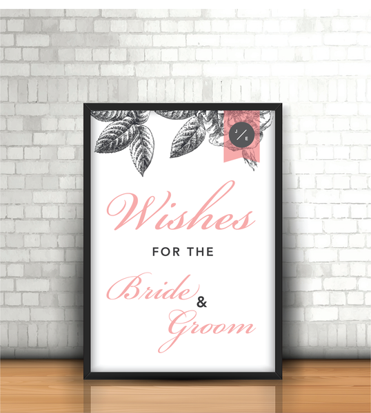Pink-Grey Modern Floral 'Best Wishes' Wedding Sign