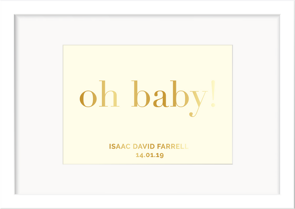 Personalised New Baby Foil Print - Oregano Designs
