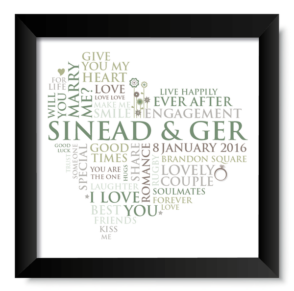 Personalised Print - Engagement Word Heart - Oregano Designs