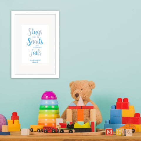 Slugs & Snails - Personalised Baby Boy Foil Print - Oregano Designs