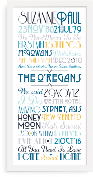 Personalised Print - Family Timeline - Oregano Designs