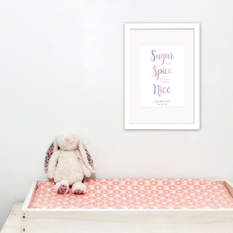 Sugar & Spice - Personalised Baby Girl Foil Print - Oregano Designs