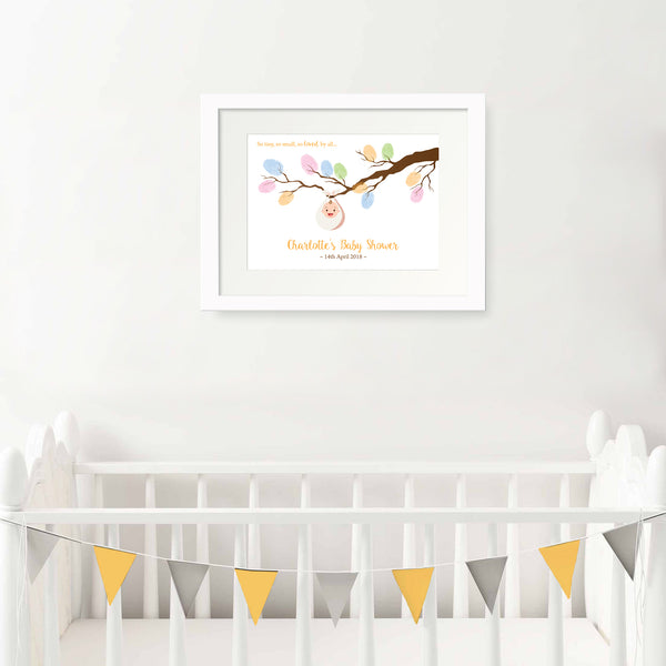 Personalised unisex baby shower fingerprint tree branch