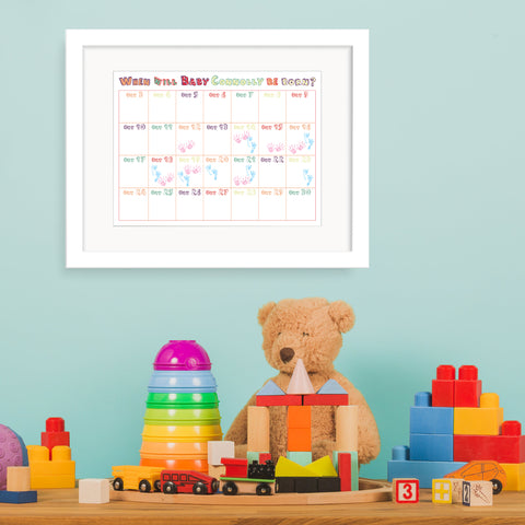 Personalised Baby Shower Calendar - Unisex - Oregano Designs