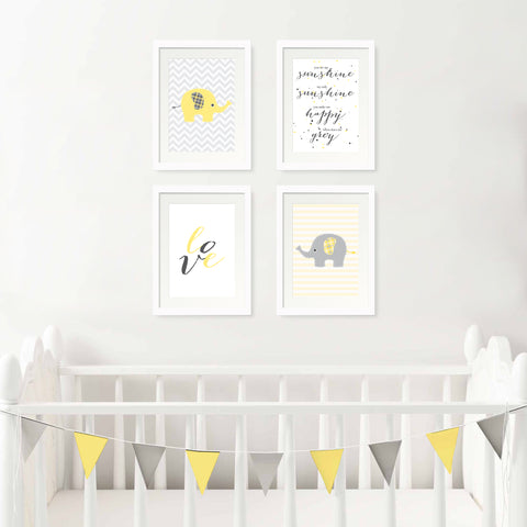 Set of 4 Baby Animal Nursery Prints
