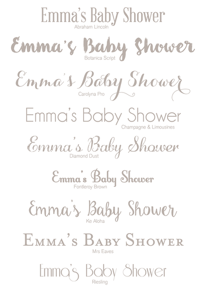 baby shower fingerprint fonts