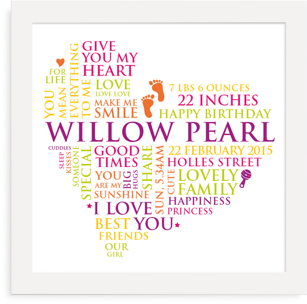 Colourful personalised baby word heart