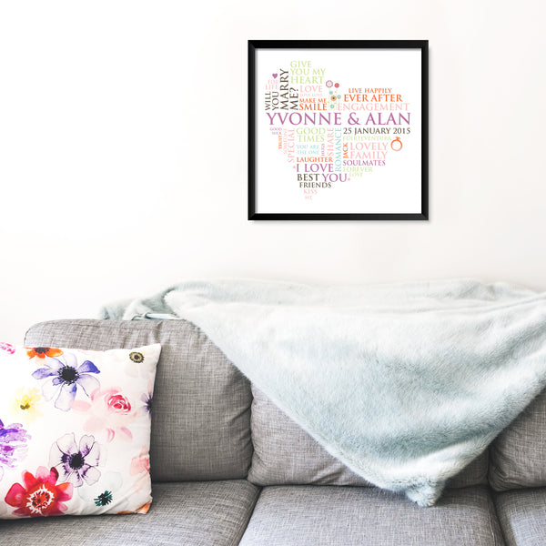Personalised Print - Engagement Word Heart