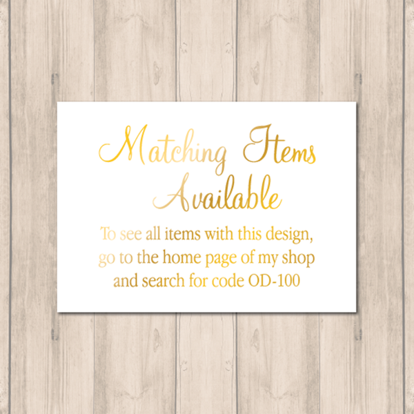 Matching Items card OD-100