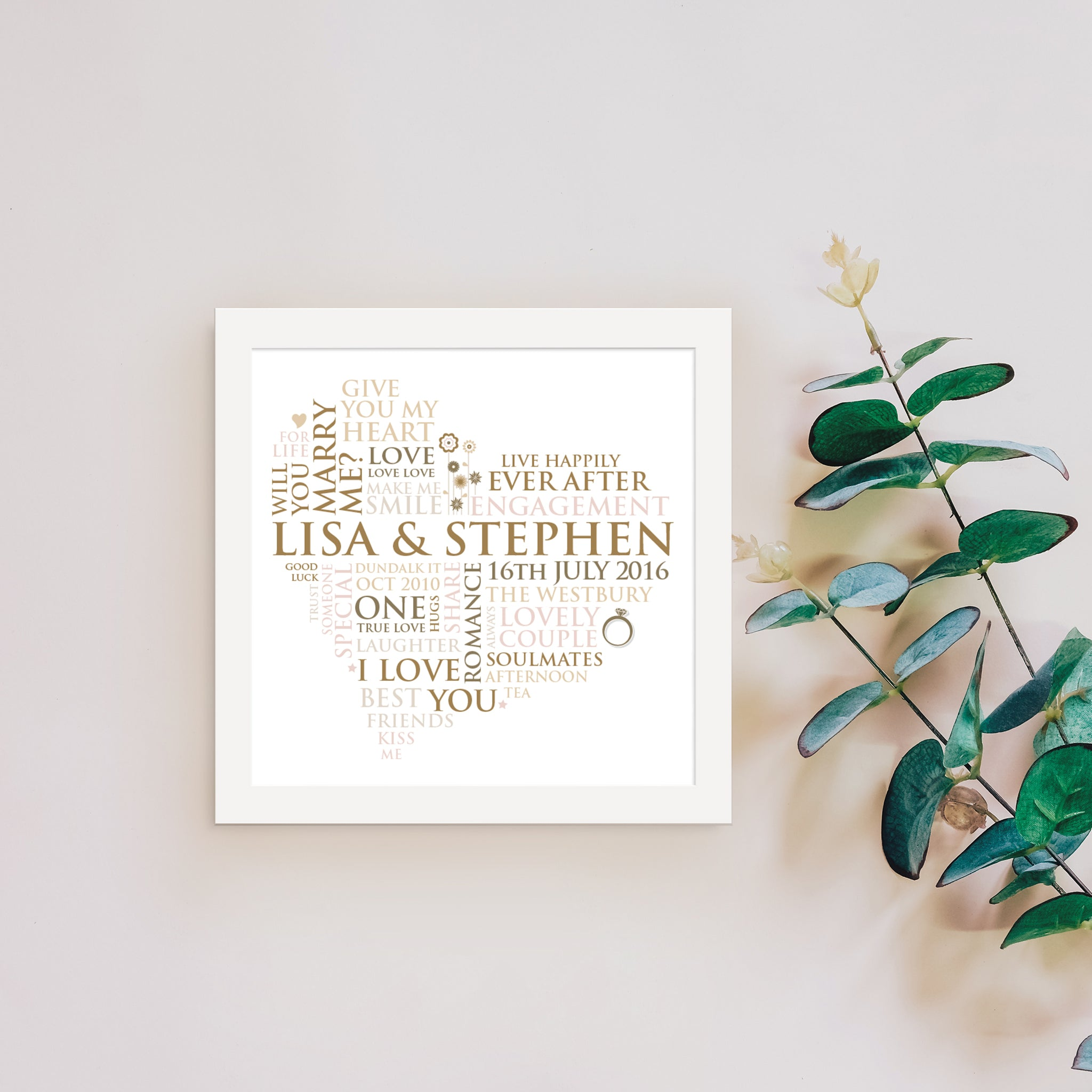 Lisa & Stephen Personalised Engagement Word Heart