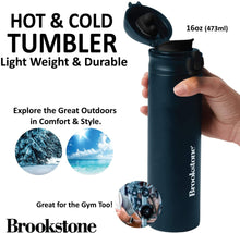 Brookstone Stainless Steel Sports Water Bottle 16 OZ - Vacuum Insulated Water Bottle - Hot and Cold Modern Double Walled Simple Thermo Mug, Hydro Metal Canteen Iron Flask 2 Lids Thermos (16 oz)