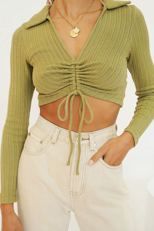 Roll With It Drawstring Ribbed Top // Sage
