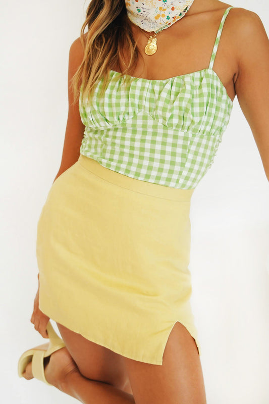 Smooth Talking Check Top // Lime
