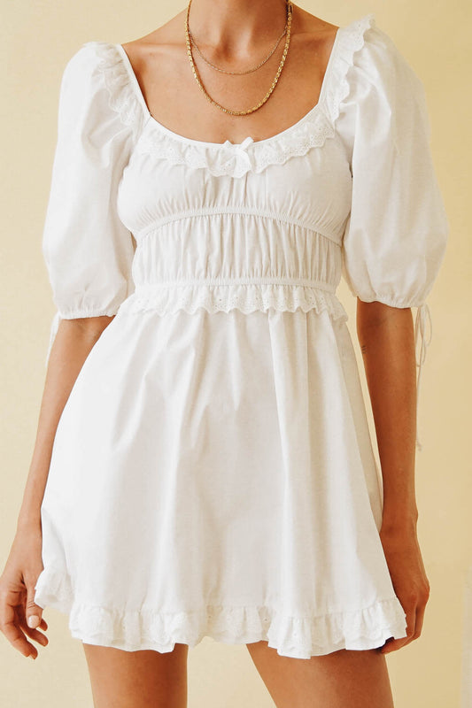 While In Paris Mini Dress // White