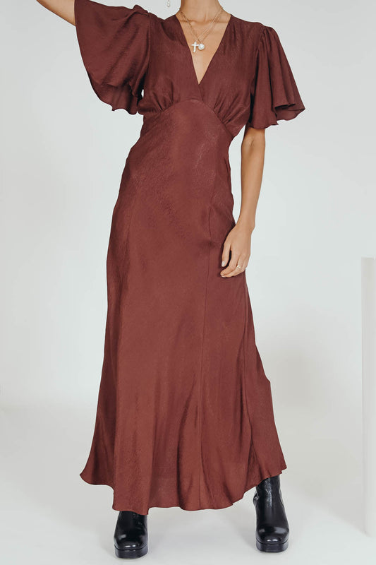 VRG GRL Papillon Bias Cut Maxi Dress // Chocolate