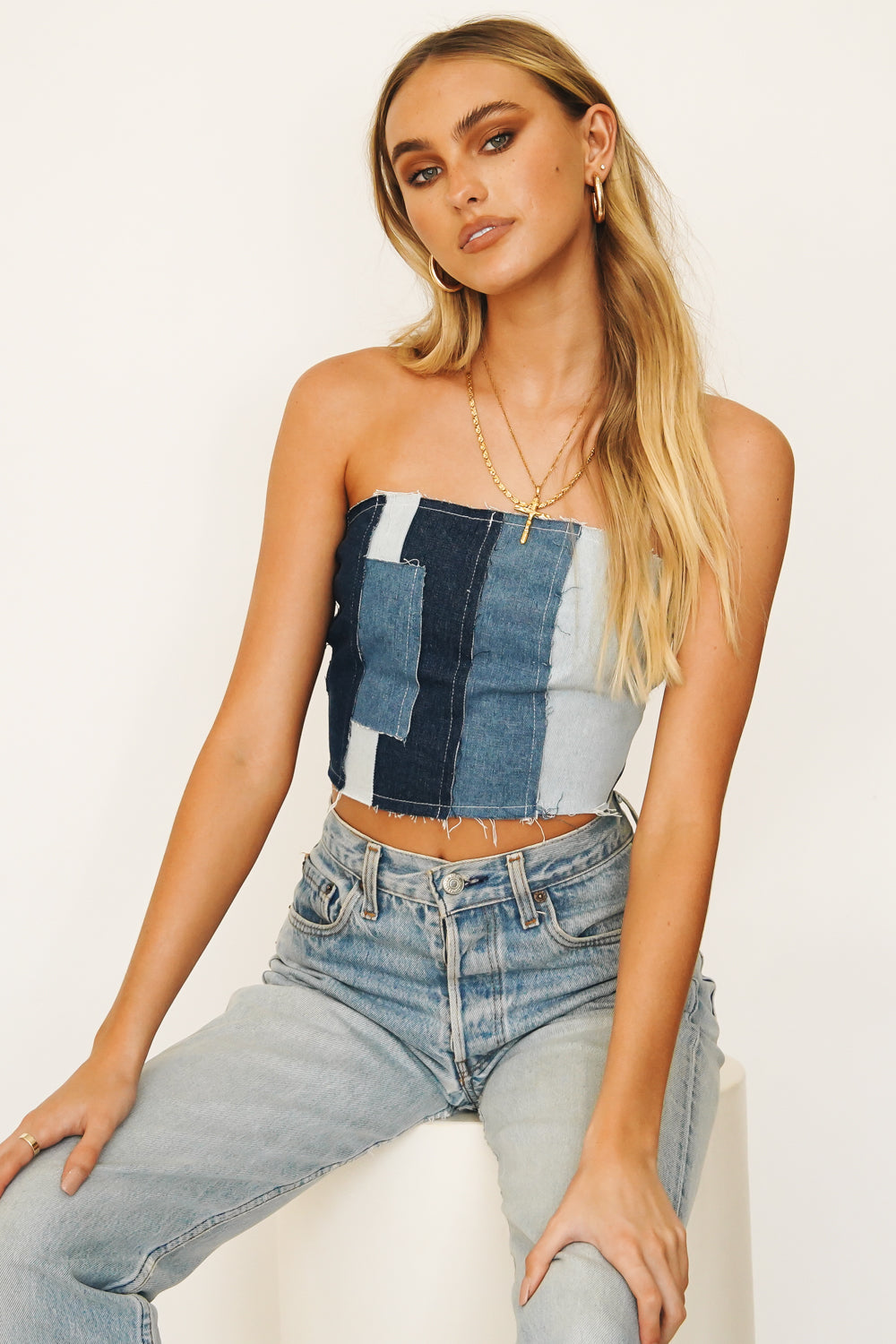 Shady Palms Zip Front Knit Top // Blue