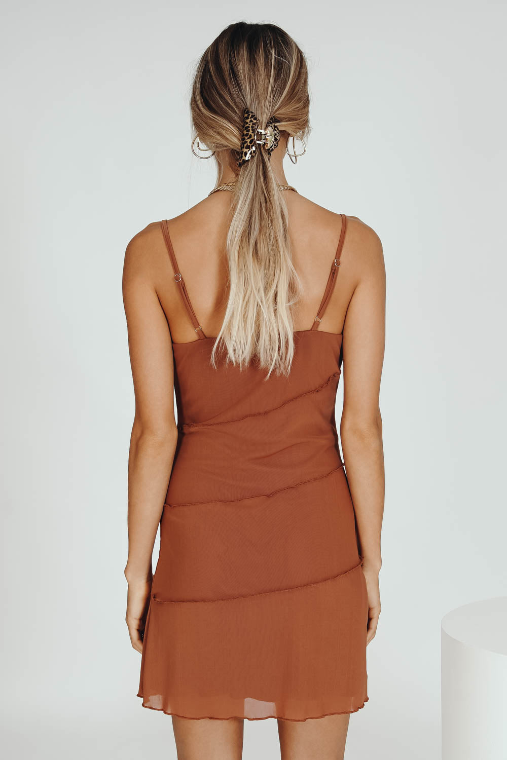 Caught Up With Her Mesh Mini Dress // Tan