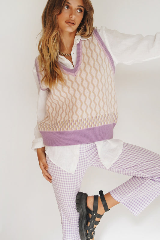 Fashion Language Knit Vest // Lilac