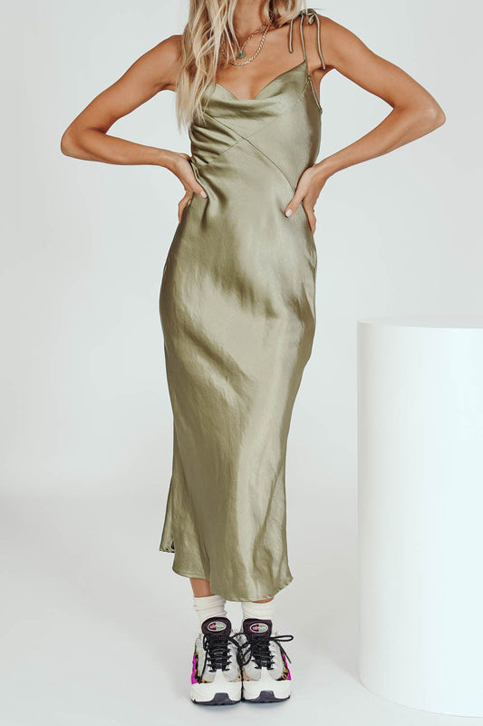 Celebrate Her Bias Cut Midi Dress // Olive