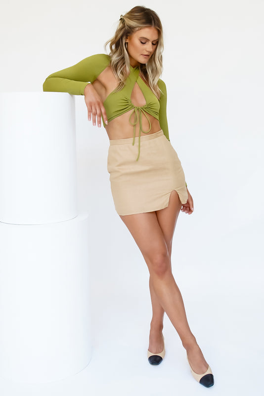 Need To Know Tie Up Halter Set // Olive