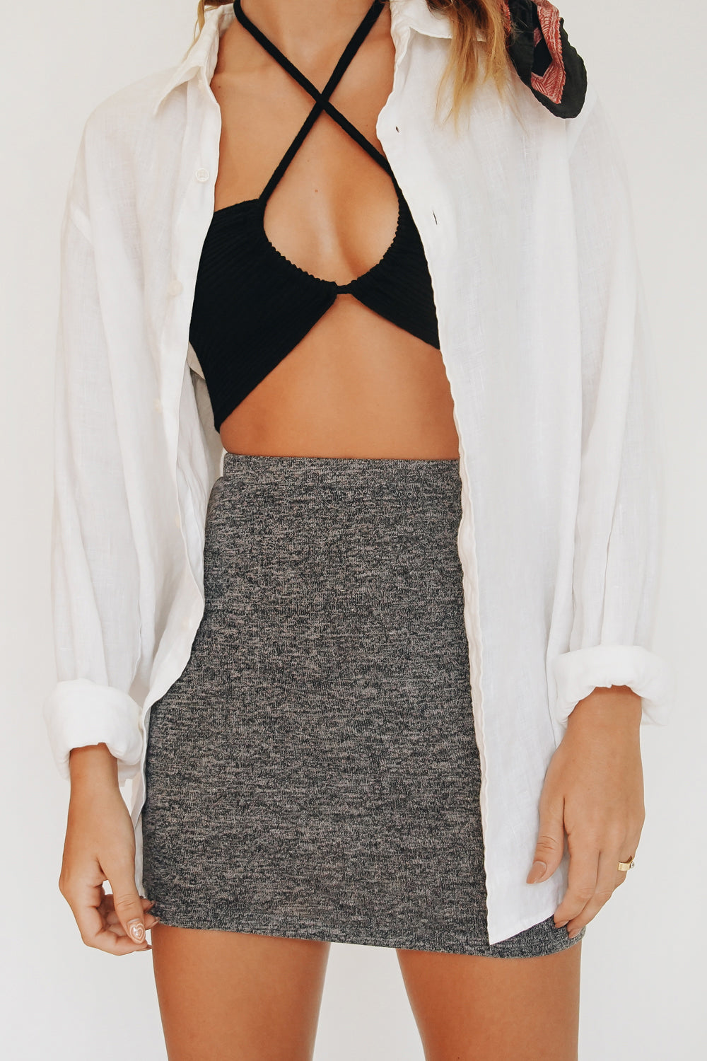VRG GRL Classic Icon Knit Mini Skirt // Charcoal