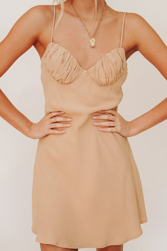 VRG GRL French Moment Bias Cut Mini Dress // Natural