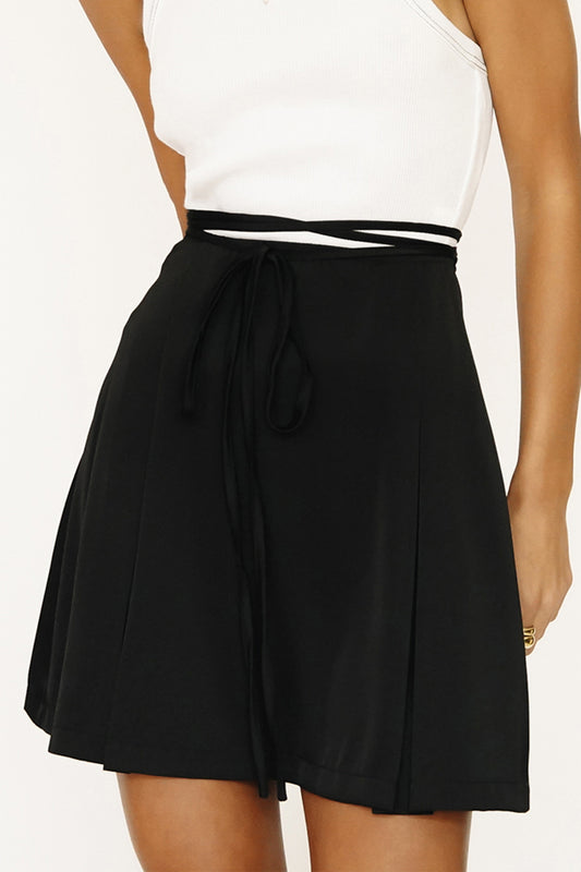 From Paris Tie Mini Skirt // Black