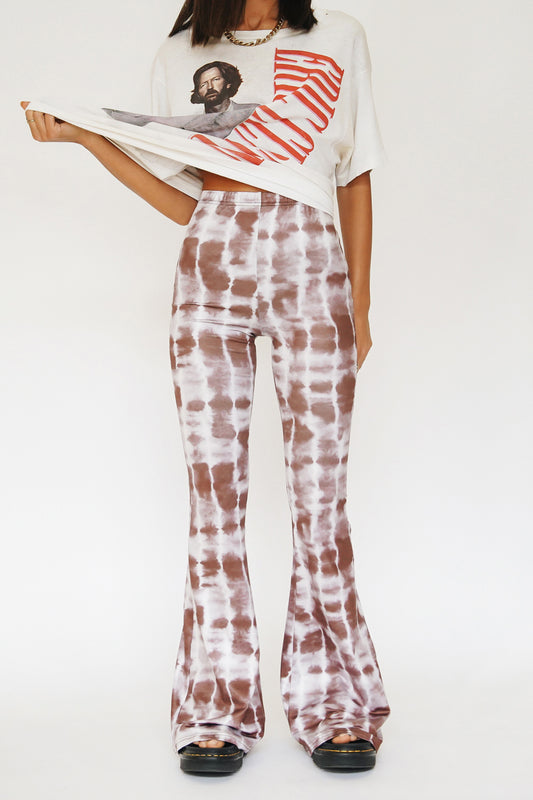 Edge Of Town Tie Dye Flares // Chocolate