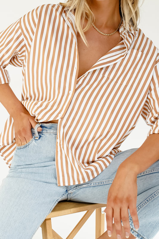 VRG GRL Beach Locals Button Front Shirt // Tan