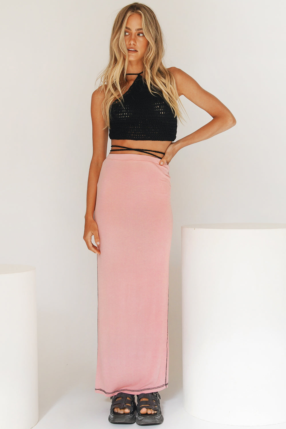 VRG GRL N.Y Based Ribbed Midi Skirt // Pink