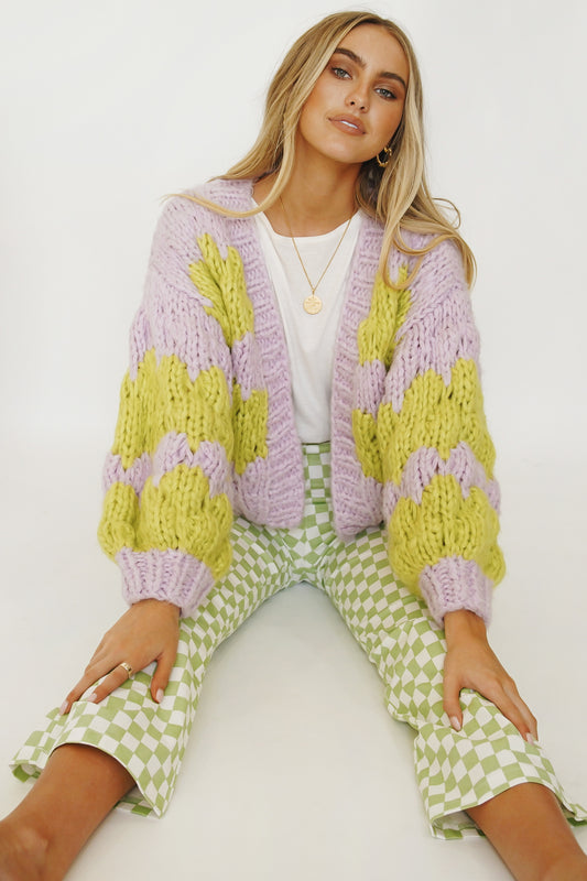 Lover Knit Cardigan // Lime