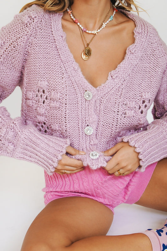 Follow That Girl Knit Cardigan // Lilac
