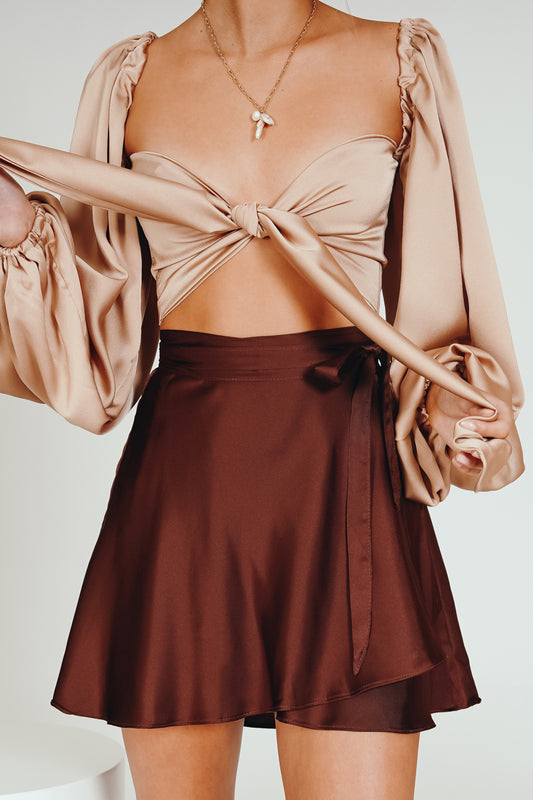 The Night Before Wrap Mini Skirt // Chocolate